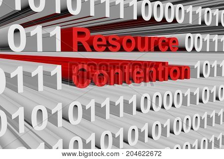 Resource contention a binary code 3D illustration