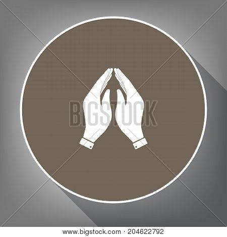 Hand icon illustration. Prayer symbol. Vector. White icon on brown circle with white contour and long shadow at gray background. Like top view on postament.