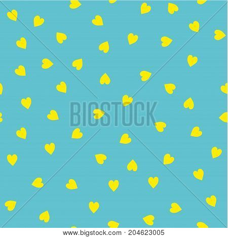 Vector seamless pattern. Randomly disposed hearts. Cute background for print on fabric, paper, scrapbooking. Modern graphic design. Hipster creative tileable print