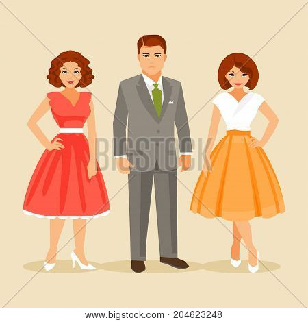 Group of elegant people dressed in fashion 1950. Vector illustration