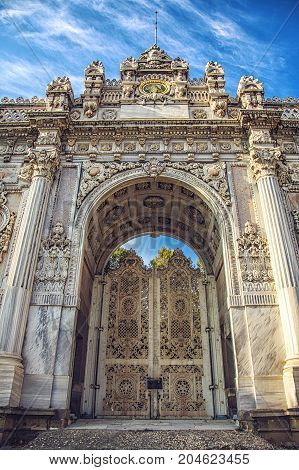 ISTANBUL, TURKEY: Gate of The Sultan, Dolmabahce Palace, Istanbul Turkey on October 7, 2014