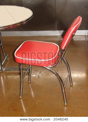Retro, Kitsch Dining Dinette Metal Red Chair & Table