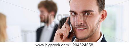 Handsome Smiling Businessman Talk Cellphone