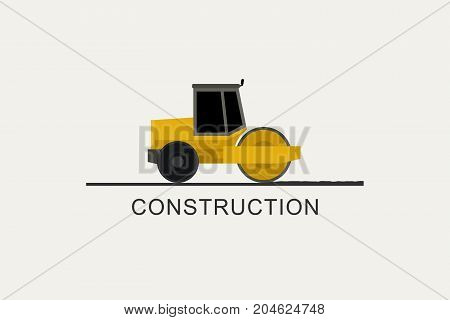 Asphalt compactor at work. Construction machinery in flat style. Road repair illustration