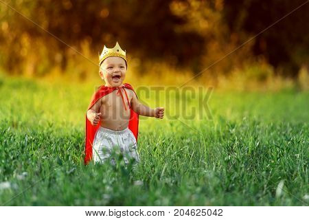 the little boy the child king is laughing on a summer evening