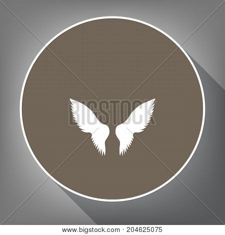 Wings sign illustration. Vector. White icon on brown circle with white contour and long shadow at gray background. Like top view on postament.