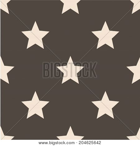 Seamless vector pattern with stars. Retro, vintage background Flat Scandinavian style for print on fabric, gift wrap, scrap booking, patchwork Modern graphic design. Hipster creative tileable print.