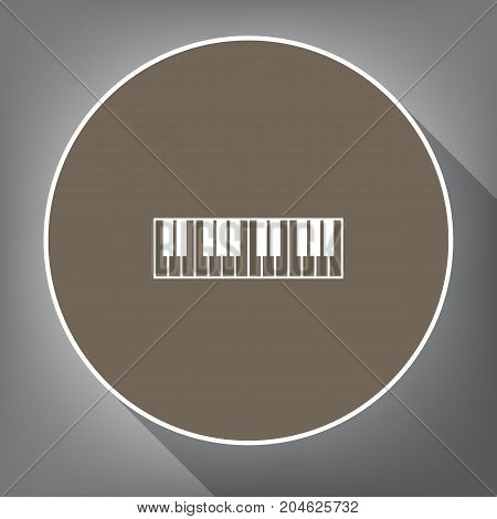 Piano Keyboard sign. Vector. White icon on brown circle with white contour and long shadow at gray background. Like top view on postament.