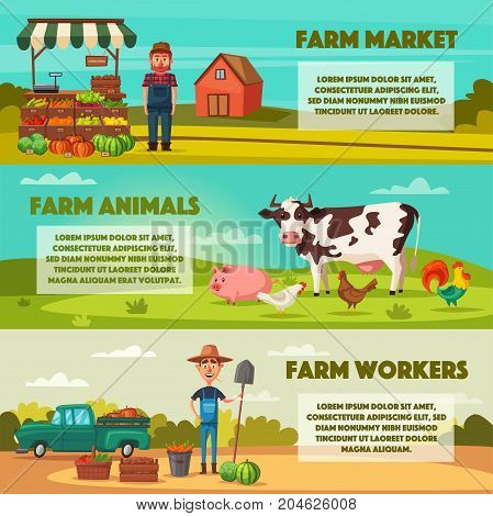 Farm set with farmers, products and animals. Cartoon vector illustration. Vegetables and fruits market. Planting and harvesting