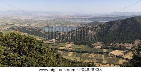 Panoramic view of the lakes Zazari and  Hemaditida from a height (northwest Greece, Macedonia)