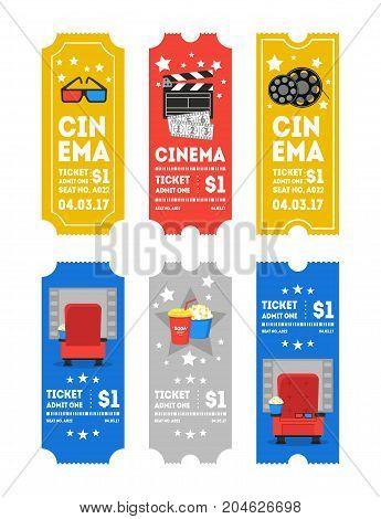 Cartoon Cinema Tickets Small Vertical Set Flat Design Style Leisure Industry. Vector illustration