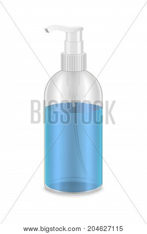 Realistic Detailed 3d Bottle Dispenser Full with Blue Liquid Cosmetic Hygiene Product Vector illustration