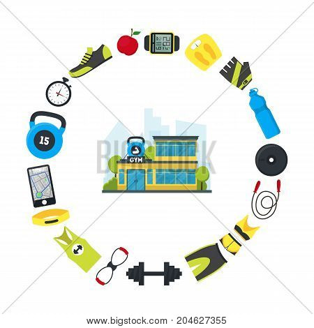 Cartoon Gym Fitness Building and Element Training Concept Exercise Sport House Flat Design Style. Vector illustration