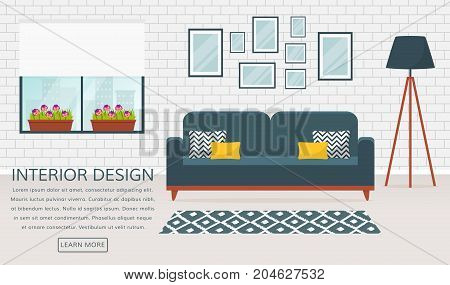 Modern interior of the living room. Vector banner with place for text. Design of a cozy room with sofa floor lamp window carpet and decor accessories.