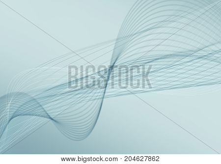 Abstract blue background with lines and dots connected flow. Smooth and liquid current. Business technology visualization