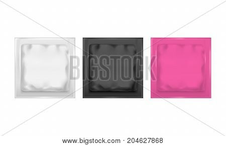 Realistic Template Blank Color Foil Pack Set Empty Mock Up for Snack, Food. Vector illustration