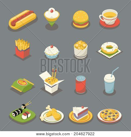 Isometric Retro Flat Fast Food Icons Symbols Set Flat Design Vector Illustration