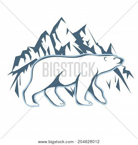 Vector illustration of a silhouette of a polar bear on a background of snow and mountains