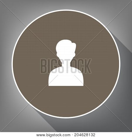 User avatar illustration. Anonymous sign. Vector. White icon on brown circle with white contour and long shadow at gray background. Like top view on postament.