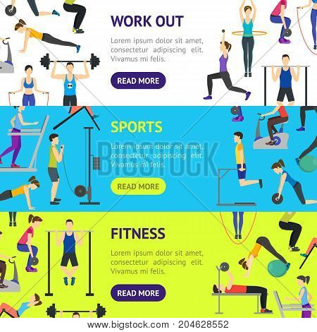 Cartoon Girl and Boy Workout Exercise in Gym Banner Horizontal Set Body Training Flat Design Style. Vector illustration