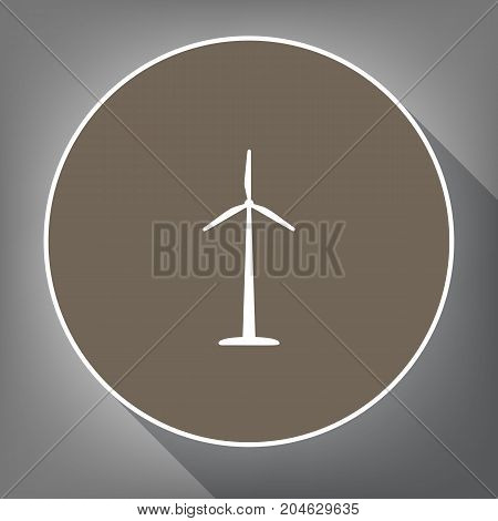 Wind turbine logo or sign. Vector. White icon on brown circle with white contour and long shadow at gray background. Like top view on postament.