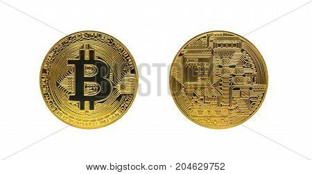 Two Golden Bitcoin Isolated