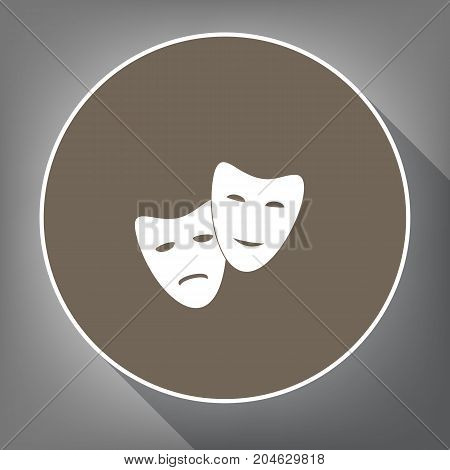 Theater icon with happy and sad masks. Vector. White icon on brown circle with white contour and long shadow at gray background. Like top view on postament.