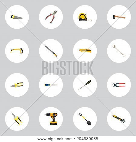 Realistic Sharpener, Stationery Knife, Length Roulette And Other Vector Elements