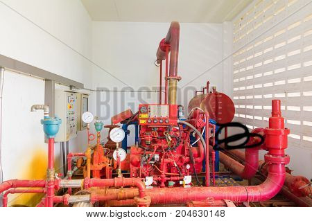 pipe system Old big plumbing red and gauge scale box which has dust dirty inside of building industrial