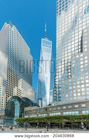 New York NY USA - September 7 2017: A view of the Freedom Tower and surrounding modern buildings of Brookfield Place on September 7 2017 in lower Manhattan.