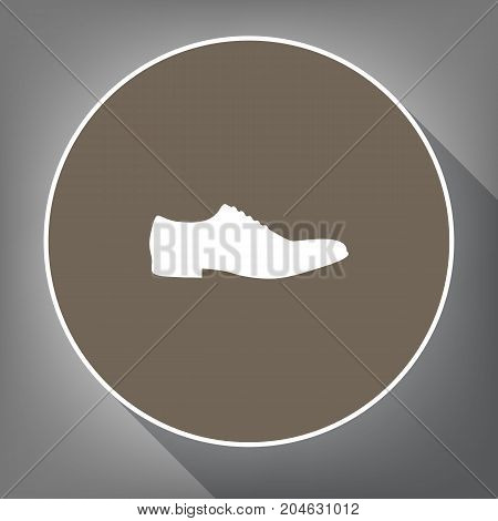Men Shoes sign. Vector. White icon on brown circle with white contour and long shadow at gray background. Like top view on postament.