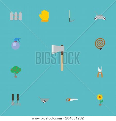 Flat Icons Lawn Mower, Axe, Green Wood And Other Vector Elements