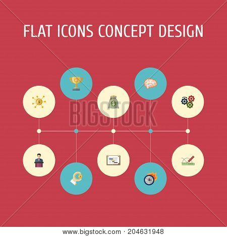 Flat Icons Gear, Coin, Financing And Other Vector Elements