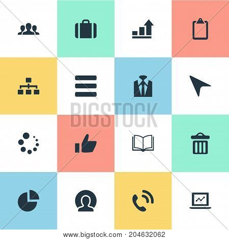 Elements Business Style, Note Pad, Staff And Other Synonyms Bin, Success And Book.  Vector Illustration Set Of Simple Interaction Icons.