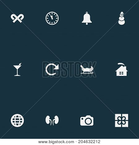 Elements Ice Man, Bells, Kidney And Other Synonyms Arrow, Camera And Photo.  Vector Illustration Set Of Simple Celebration Icons.