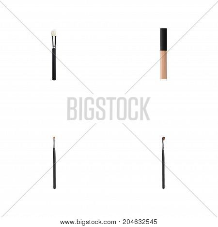 Realistic Eye Paintbrush, Contour Style Kit, Cover And Other Vector Elements