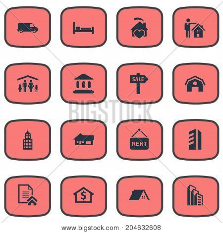 Elements Man, Truck, High-Rise And Other Synonyms Architecture, Residental And Comfort.  Vector Illustration Set Of Simple Real Icons.