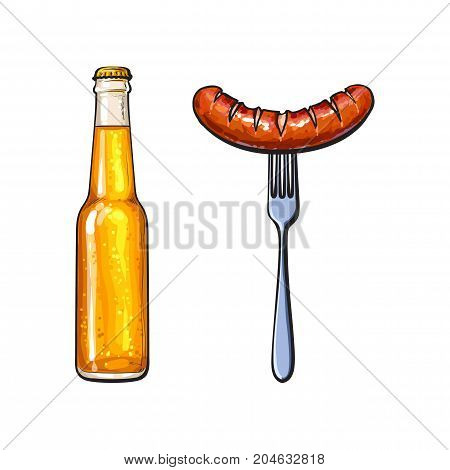 Cold beer and grilled, barbequed sausage on fork, sketch style vector illustration on white background. Realistic hand drawing of grilled, fried, barbequed sausage, fork and bottle of beer