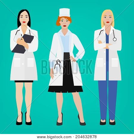 Female doctors standing with stethoscope in different poses. Beautiful avatar characters. Vector illustration isoated on a green background.