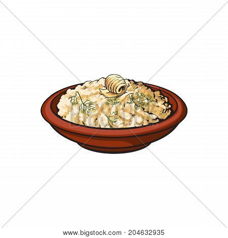 Hand drawn bowl of mashed pototo with piece of butter on top, sketch style vector illustration isolated on white background. Sketch style, realistic drawing of bowl with mashed potato
