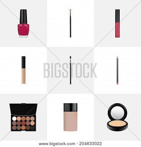 Realistic Make-Up Product, Brow Makeup Tool, Liquid Lipstick And Other Vector Elements