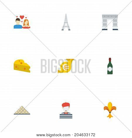 Flat Icons Trombone, Tower, Alcohol And Other Vector Elements