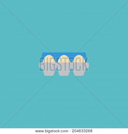 Flat Icon Container Element. Vector Illustration Of Flat Icon Tray Of Eggs Isolated On Clean Background