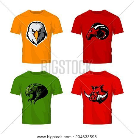 Furious eagle, ram, snake and boar sport vector logo concept set isolated on white.  Street wear mascot team badge design. Premium quality wild animal emblem t-shirt tee print illustration.