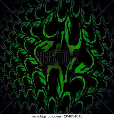 Abstract fish scale decoration green and black centered and blurred.