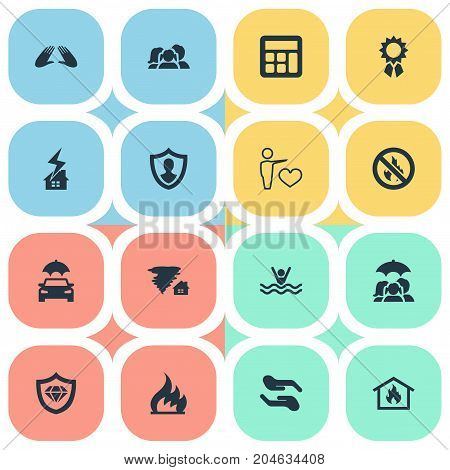 Elements No Blaze, Maintenance, Tornado And Other Synonyms Ignition, Insured And Lightning.  Vector Illustration Set Of Simple Insurance Icons.