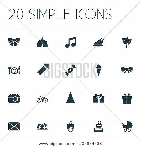 Elements Present, Mask, Sound Note And Other Synonyms Roasted, Bow And Envelope.  Vector Illustration Set Of Simple Birthday Icons.