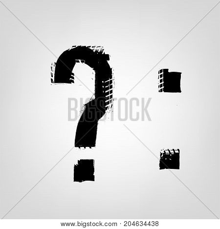 Grunge tire glyphs. Question mark and colon. Unique off road isolated lettering in a black colour on a light grey background. Vector illustration. Creative typography collection.