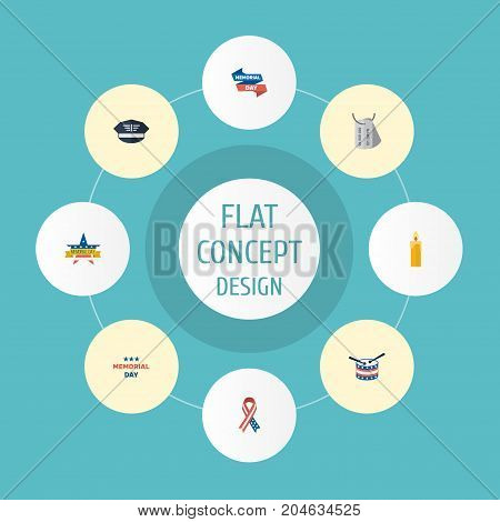 Flat Icons Holiday, Ribbon, Awareness And Other Vector Elements