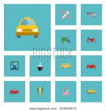 Flat Icons Aircraft, Jeep, Boat And Other Vector Elements